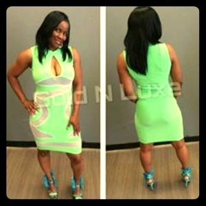 Lime green oval hip body con.dress
