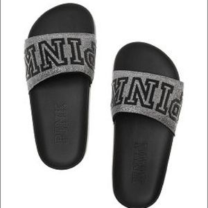VS Pink Black/Gray Glitter Bling Logo Slides NWT
