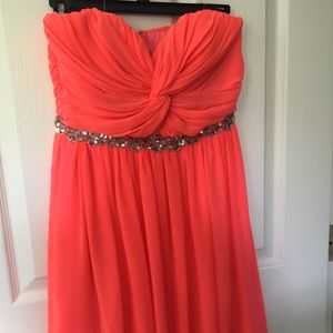 Neon orange short flowey dress