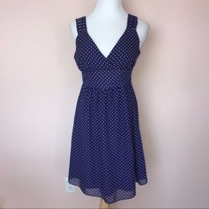 GAP Royal Blue London Crossover Polka Dot Dress 14