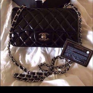 Black patent leather mini classic Flap