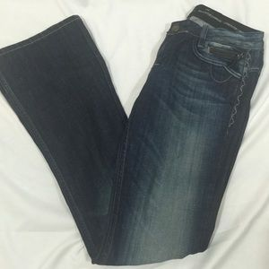 REROCK for Express sz 8 Distressed Bootcut Jeans
