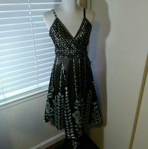 Brown and green polyester dress