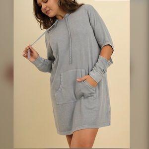 👌👌PLUS👌👌Washed Hooded Pocket Dress