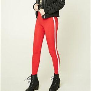 Forever 21 red striped leggings