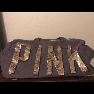 Grey Victoria's Secret Pink duffle bag