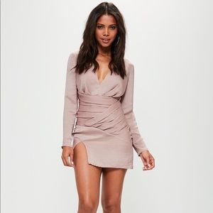96e98dd0b75 Missguided Dresses - Pink silky long sleeve panelled shift dress