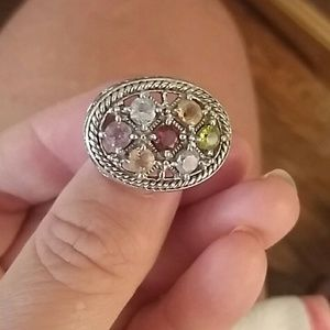 Beautiful Sterling Ring Multi Stones Stamped 925
