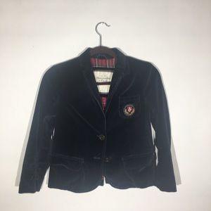 Abercrombie & Fitch navy blue velvet emblem jacket