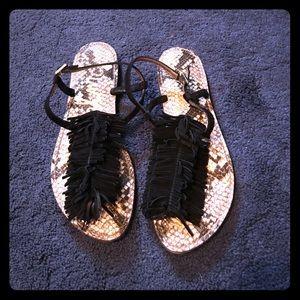 Sam Edelman Black Fringe Suede Sandals - Size 9