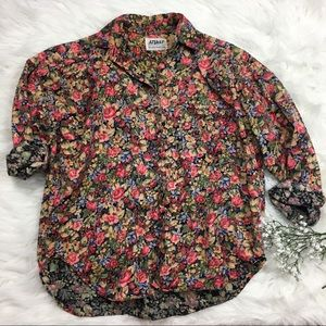 Vintage 90s floral oversized Shirt Button Up M