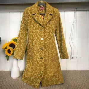 Merona yellow floral coat, size small.