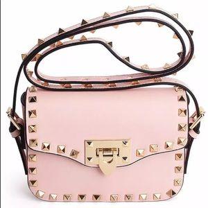 New! Pink Rockstud Crossbody Handbag