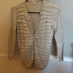 J.Crew gray ruffle sweater