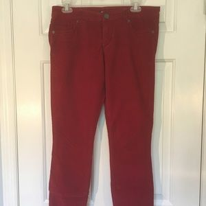 Express Corduroy Leggings Size 6 Red, Soft!