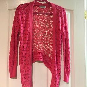 Patrizia Luca pink crochet cardigan sweater OS