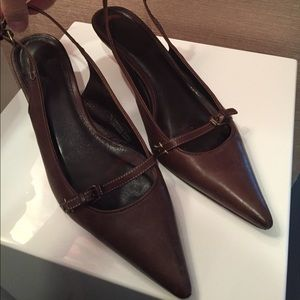 Brown JCrew leather sling back kitten heels
