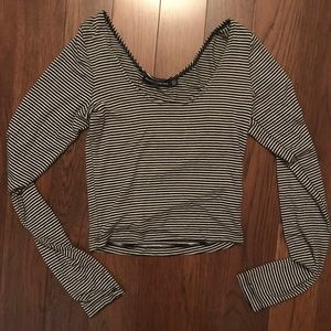 Brandy Melville Striped Crop Long Sleeve - OS