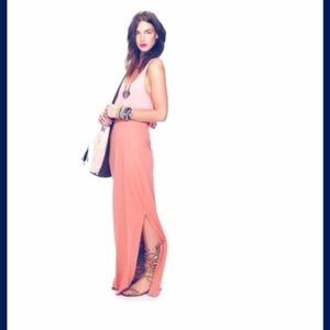Free People Pink Maxi Skirt with Slit L