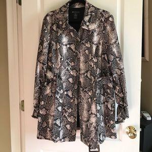 Snakeskin print trench coat