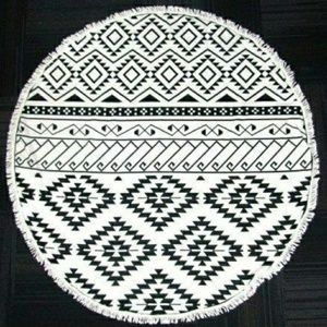Aztec Black & White Round Beach Towel