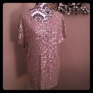 EUC Sequin Knit Jersey Top, Size Large