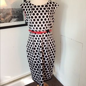 incredible polkadot dress with red belt accent 10