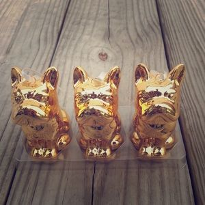 Set of three gold glass Bull Dog ornaments