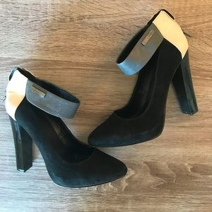 Calvin Klein Suede & Leather Block Heel Shoes