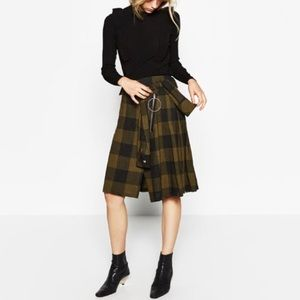Olive Gingham/Plaid Zara skirt