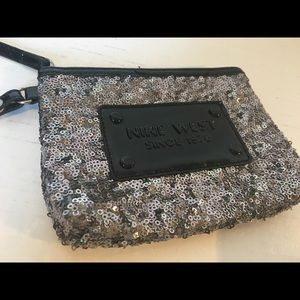 Nine West Wristlet Glitter Sequins Silver Black