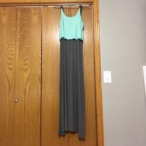 Teal and grey maxi dress