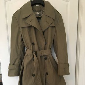 Olive military trench coat w/ lining men women