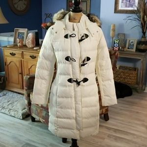 Brand new, ivory Express long down coat.