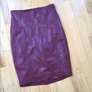 Dresses & Skirts - OX BLOOD RED LEATHER SKIRT SIZE 6