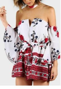 Pants - The MELANIE Floral Romper with Chocker xX