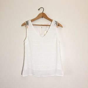 Skies are blue white embellished tank top