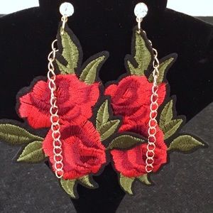 Jewelry - Embroidered (YES!) Rose Earrings