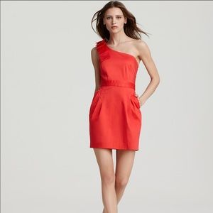 French connection wizard bow red 1 shoulder dress
