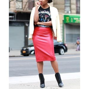 Red Faux Leather ZARA SKIRT SIZE 6