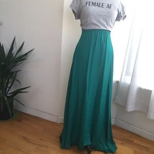 MANGO GREEN SATIN MAXI SKIRT SIZE 4