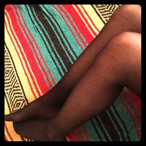 Accessories - Black Diamond Patterned One Piece Stockings