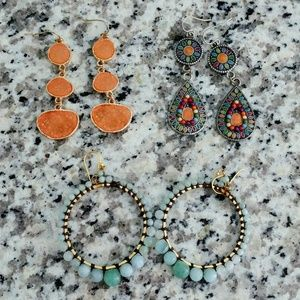 Jewelry - 3 Pairs of Fashion Earrings