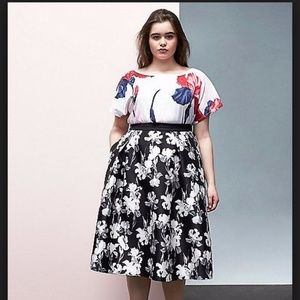 BLACK & WHITE FLORAL SKIRT PRABAL GURUNG