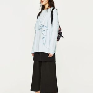 Zara sky blue frilled sweatshirt