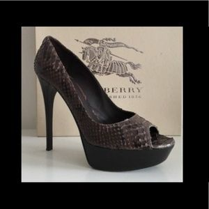 Burberry Python Peep Toe Heels