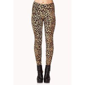 Forever 21 Velvet Leopard Leggings