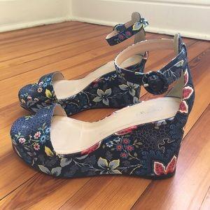 J.Crew batik floral platform sandals