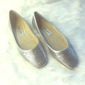 JIMMY CHOO metallic silver flats
