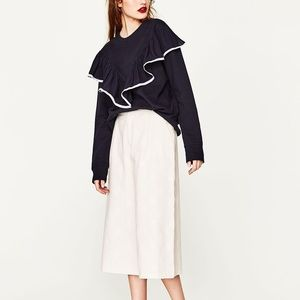 Zara oversized sweatshirt with front frill